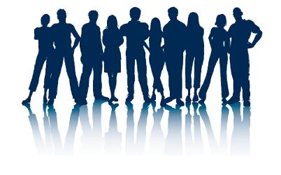 Een groep van 10 silhouetten van mensen: mannen, vrouwen en anderen.