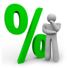 Green % sign, with a person in thinking posture in front of it.